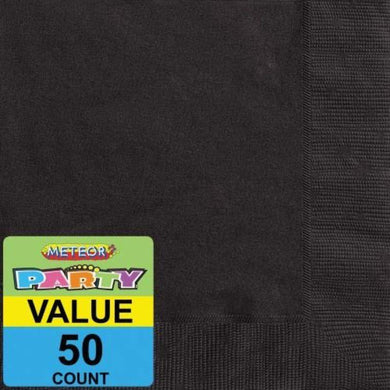 50 Pack Midnight Black Lunch Napkins - 33cm - The Base Warehouse