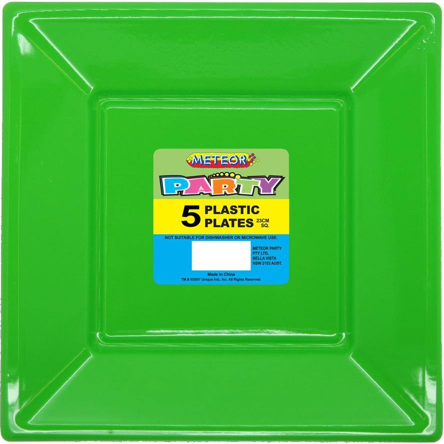 5 Pack Lime Green Square Plastic Plates - 23cm