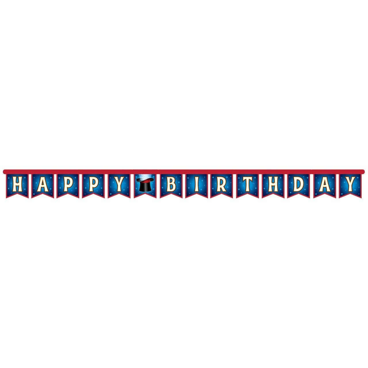Magic Party Happy Birthday Jointed Banner - 2.4m x 18cm