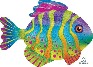 SuperShape Holographic Colourful Fish Foil Balloon - 83cm x 58cm - The Base Warehouse