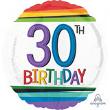 Load image into Gallery viewer, Rainbow 30th Birthday Foil Balloon - 45cm
