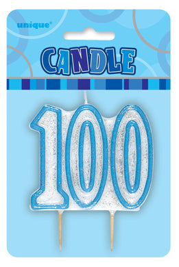 Glitz Blue Numeral 100 Candle - The Base Warehouse