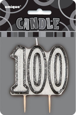 Glitz Black Numeral 100 Candle - The Base Warehouse