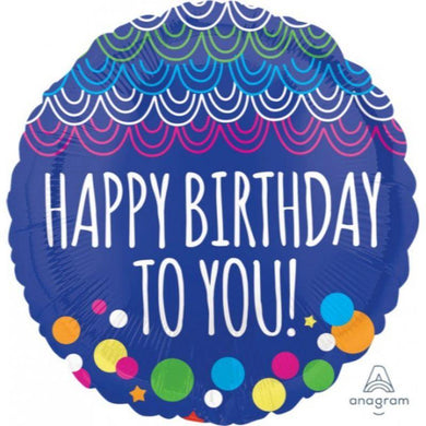 Blue Happy Birthday To You Foil Balloon - 45cm - The Base Warehouse