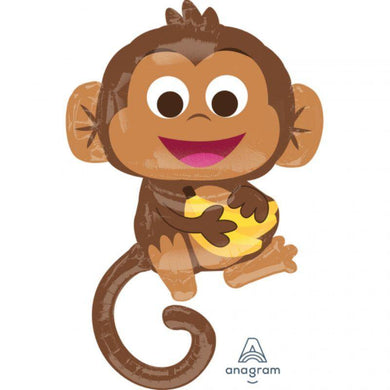 Happy Monkey Foil Balloon - 63cm x 91cm - The Base Warehouse