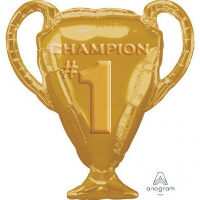Gold Champion Trophy Foil Balloon - 71cm x 63cm - The Base Warehouse