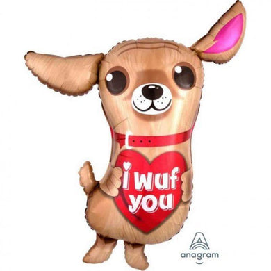 SuperShape I Wuf You Dog Foil Balloon - 66cm x 91cm - The Base Warehouse