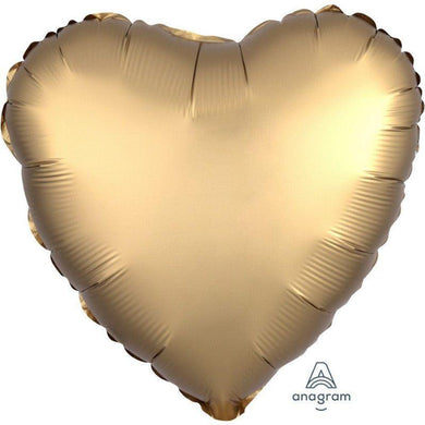 Satin Luxe Gold Sateen Heart Foil Balloon - 45cm - The Base Warehouse