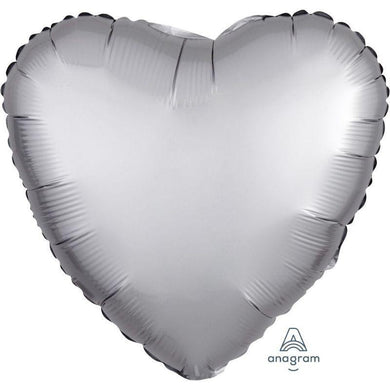 Satin Luxe Platinum Heart Foil Balloon - 45cm - The Base Warehouse