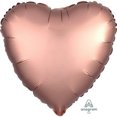 Satin Luxe Rose Copper Heart Foil Balloon - 45cm - The Base Warehouse