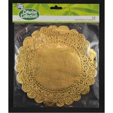 12 Pack Gold Doilies - 21.5cm - The Base Warehouse