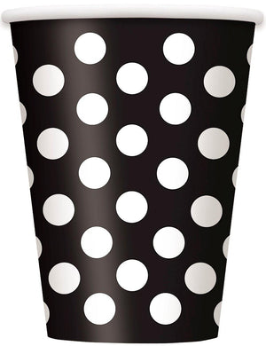 6 Pack Midnight Black Dots Paper Cups - 355ml - The Base Warehouse