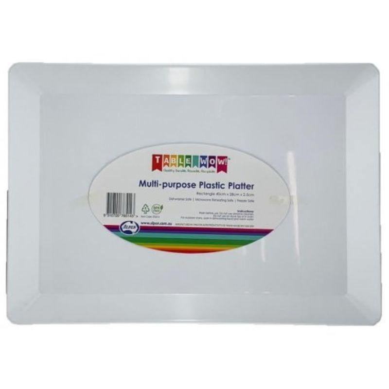 White Plastic Rectangle Platter - 40cm x 28cm x 2.5cm