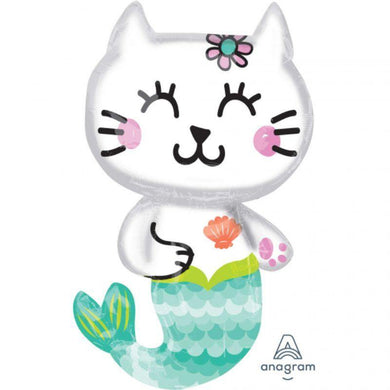 Mermaid Cat Foil Balloon - 45cm x 78cm - The Base Warehouse
