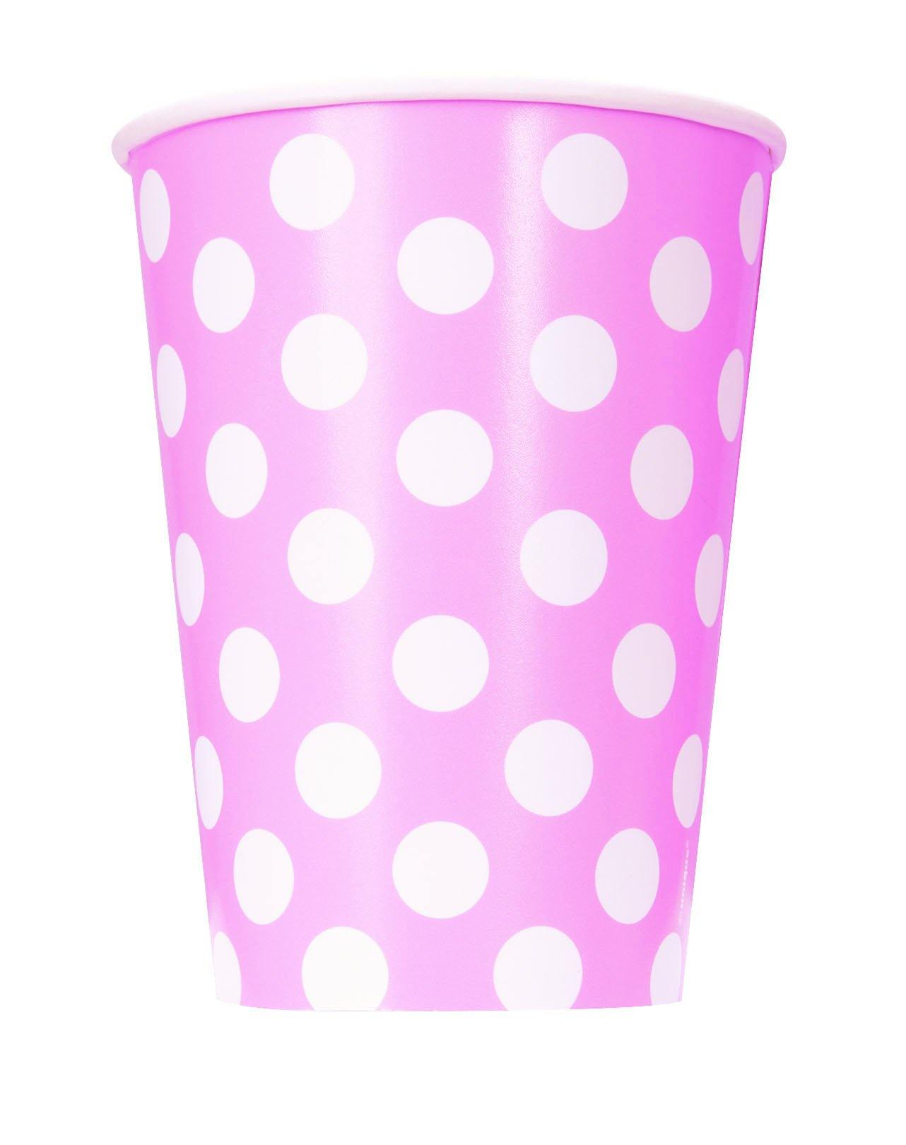 6 Pack Lovely Pink Dots Paper Cups - 355ml