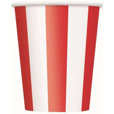 6 Pack Ruby Red Stripes Paper Cups - 355ml - The Base Warehouse