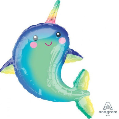Happy Narwhal Foil Balloon - 73cm x 99cm - The Base Warehouse