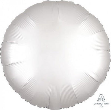 Luxe Satin White Round Foil Balloon - The Base Warehouse