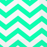 Load image into Gallery viewer, 16 Pack Caribbean Teal Chevron Luncheon Napkins - 33cm x 33cm