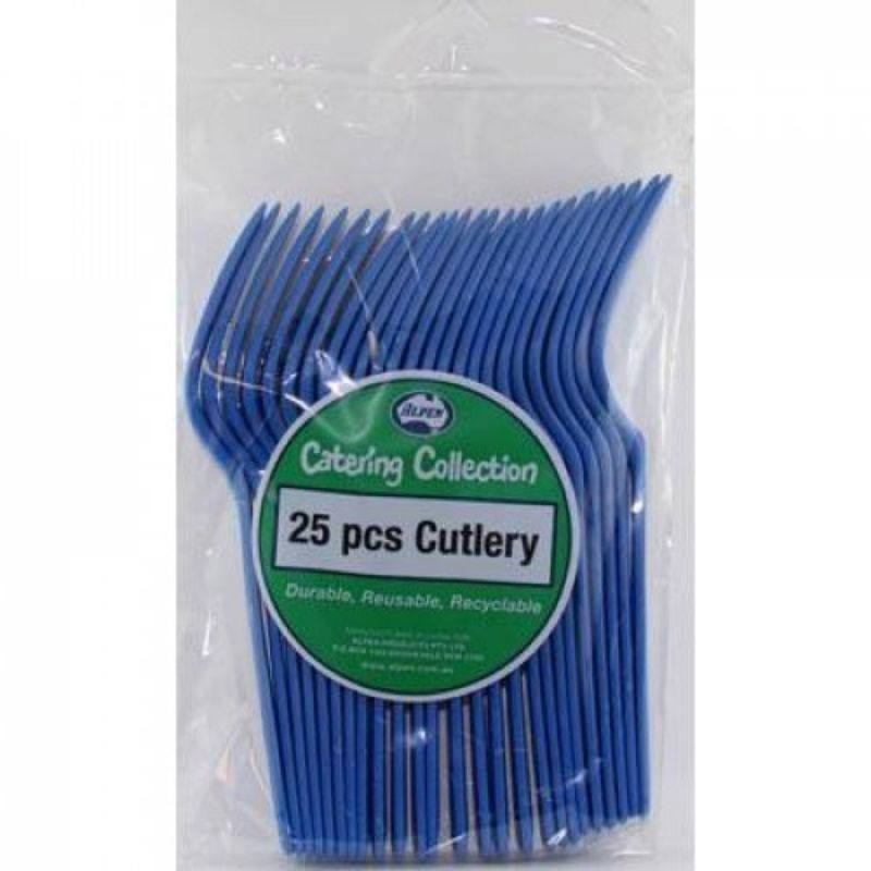 25 Pack Royal Blue Plastic Forks - 18cm