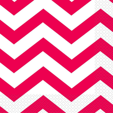 16 Pack Ruby Red Chevron Beverage Napkins - 25.4cm x 25.4cm - The Base Warehouse