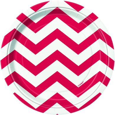 8 Pack Ruby Red Chevron Paper Plates - 18cm - The Base Warehouse