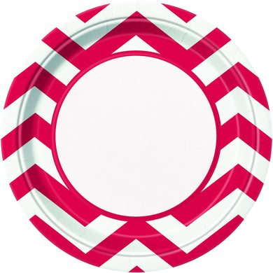 8 Pack Ruby Red Chevron Paper Plates - 23cm - The Base Warehouse
