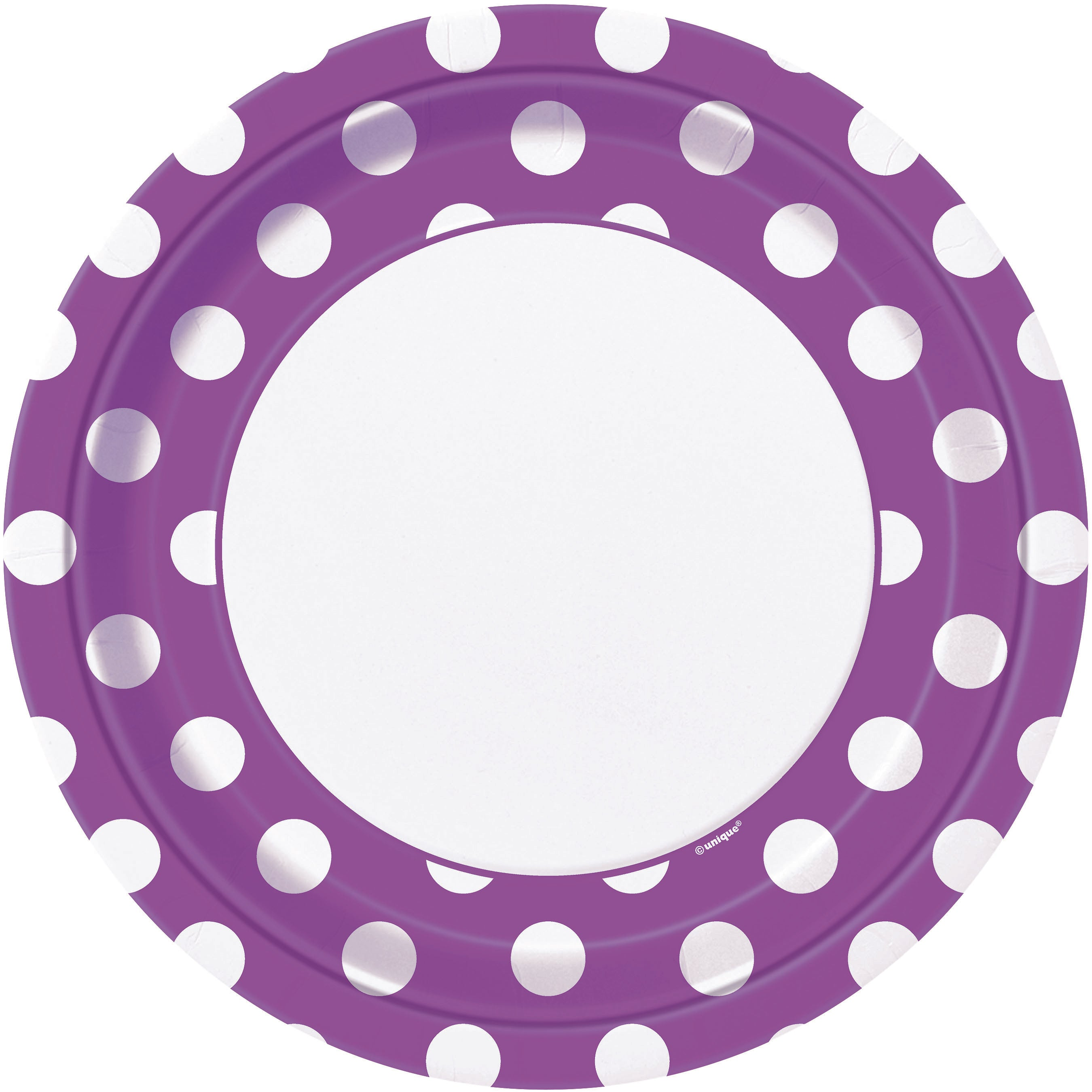 8 Pack Pretty Purple Dots Paper Plates - 23cm