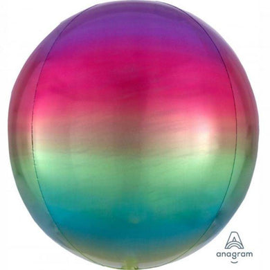 Orbz Ombre Rainbow Foil Balloon - 38cm x 40cm - The Base Warehouse
