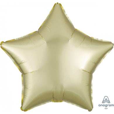 Satin Luxe Pastel Yellow Star Foil Balloon - 45cm - The Base Warehouse