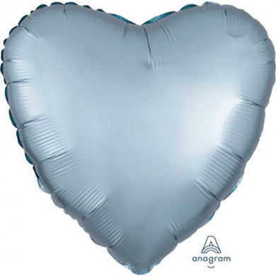 Satin Luxe Pastel Blue Heart Foil Balloon - 45cm - The Base Warehouse