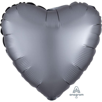 Satin Luxe Graphite Heart Foil Balloon - 45cm - The Base Warehouse