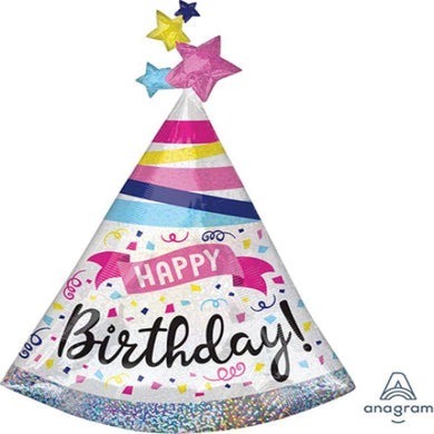 Holographic HBD Sparkle Hat Foil Balloon - 68cm x 91cm - The Base Warehouse