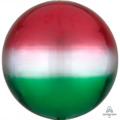 Orbz Ombre Red and Green Foil Balloon - 38cm x 40cm - The Base Warehouse