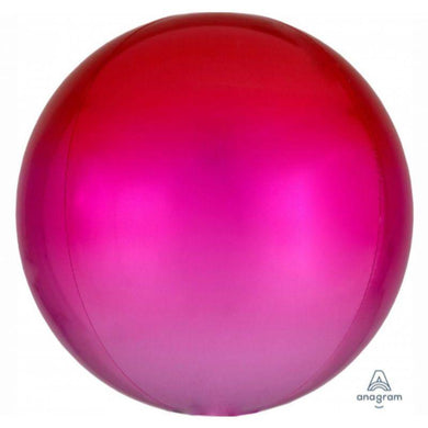 Orbz Ombre Red and Pink Foil Balloon - 38cm x 40cm - The Base Warehouse