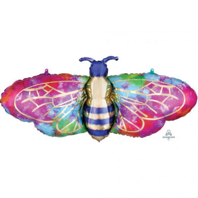 Tie-Dye Bee Foil Balloon - 99cm x 45cm - The Base Warehouse