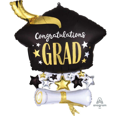 SuperShape Satin Infused Cap & Diploma Foil Balloon - 58cm x 63cm - The Base Warehouse
