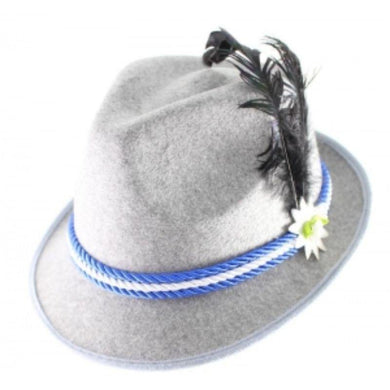 Grey Beer Fedora with White and Blue Braid - The Base Warehouse