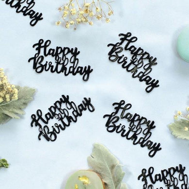 10 Pack Black Happy Birthday Jumbo Foil Confetti - The Base Warehouse