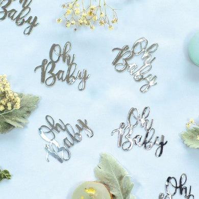 15 Pack Silver Oh Baby Jumbo Foil Confetti - The Base Warehouse
