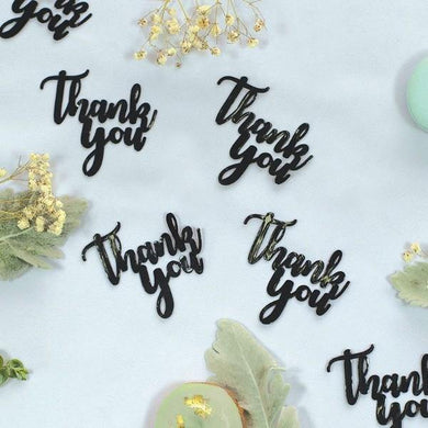 15 Pack Black Thank You Jumbo Foil Confetti - The Base Warehouse