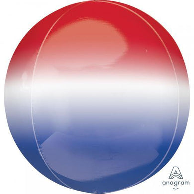 Orbz Ombre Red, White & Blue Foil Balloon - 38cm x 40cm - The Base Warehouse