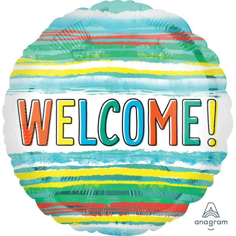 Welcome Watercolor Stripes Foil Balloon - 45cm