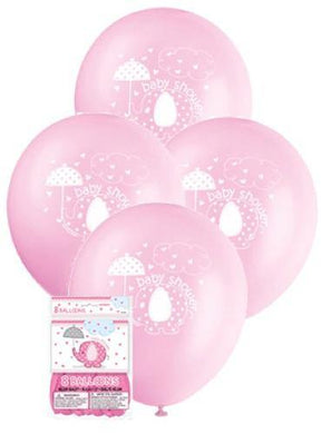 8 Pack Pink Umbrellaphants Latex Balloons - 30cm - The Base Warehouse