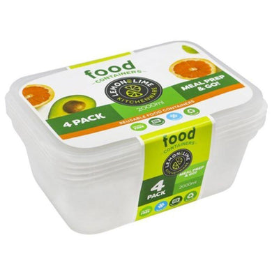4 Pack Disposable Rectangle Food Containers - 2L - The Base Warehouse