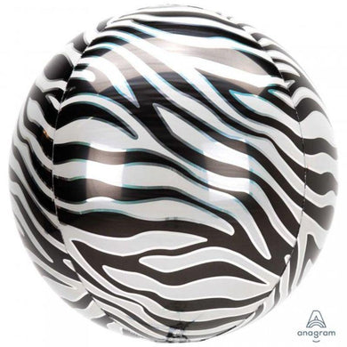 Orbz Zebra Print Foil Balloon - 40cm - The Base Warehouse