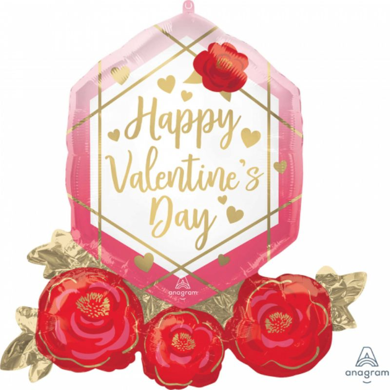 SuperShape Happy Valentines Day Gem & Roses Foil Balloon - 76cm x 71cm