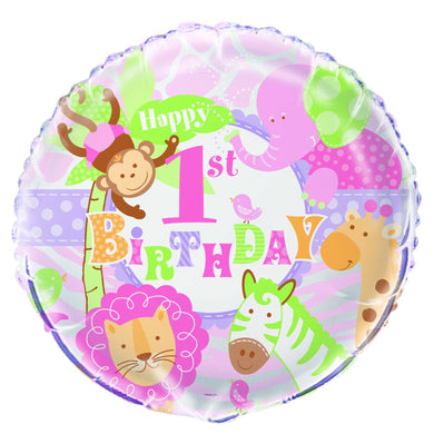 1st Birthday Pink Safari Round Foil Balloon - 45cm - The Base Warehouse