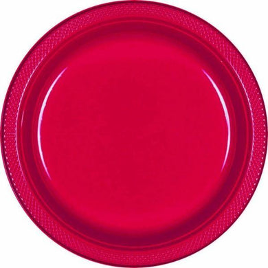 20 Pack Apple Red Round Plastic Plates - Small - The Base Warehouse