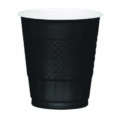 20 Pack Jet Black Plastic Cups - The Base Warehouse